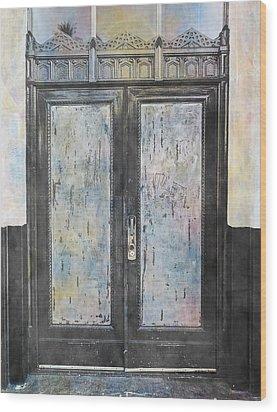 Wood Print featuring the photograph Urban Bank Doorway by John Fish