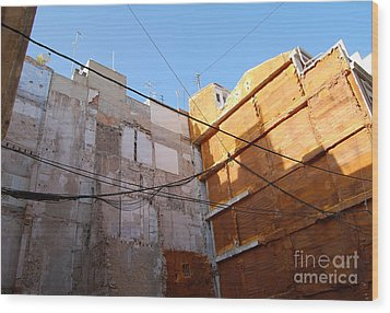 Wood Print featuring the photograph Urban Blue Sky by Linda Prewer