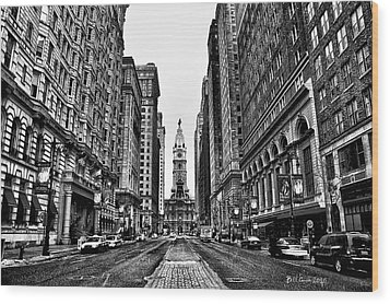 Urban Canyon - Philadelphia City Hall Wood Print by Bill Cannon