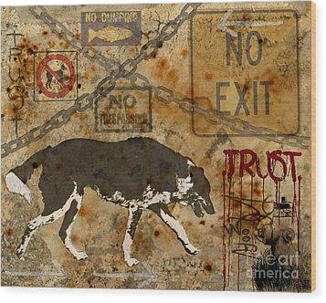 Urban Dog Wood Print by Judy Wood