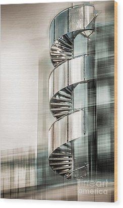 Urban Drill - Cyan Wood Print by Hannes Cmarits