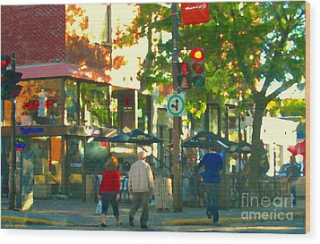 Urban Explorers Couple Walking Downtown Streets Of Montreal Summer Scenes Carole Spandau Wood Print by Carole Spandau