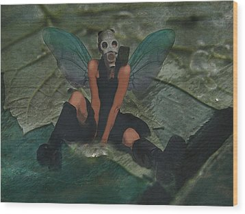 Wood Print featuring the digital art Urban Fairy by Galen Valle