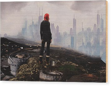 Wood Print featuring the digital art Urban Human by Galen Valle