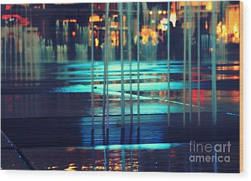 Urban Night Life Wood Print by Charline Xia