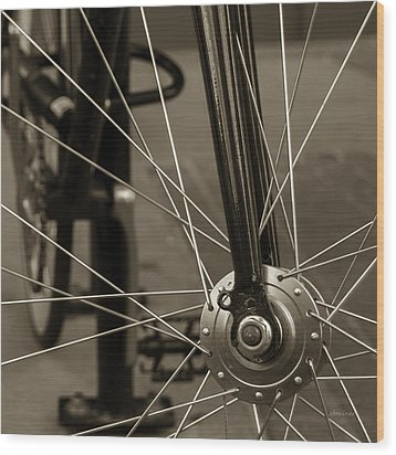 Wood Print featuring the photograph Urban Spokes In Sepia by Steven Milner