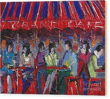 Urban Story - Grand Cafe Wood Print by Mona Edulesco