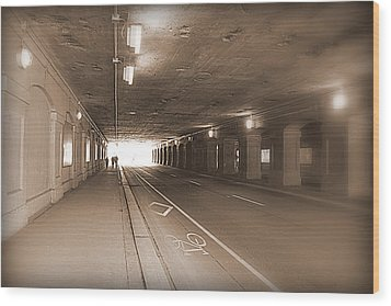 Urban Tunnel Wood Print by Valentino Visentini