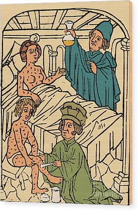 Uroscopy Patients With Syphilis 1497 Wood Print by Science Source
