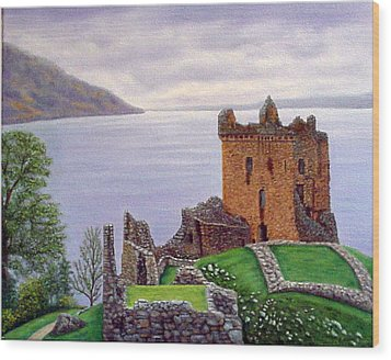 Wood Print featuring the painting Urquhart Castle Loch Ness Scotland by Fran Brooks