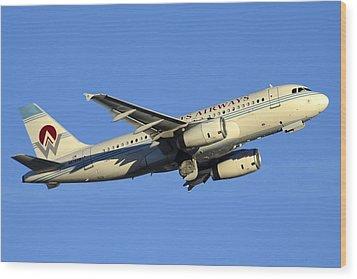 Us Airways Airbus A319-132 N828aw America West Legacy Phoenix Sky Harbor December 24 2014  Wood Print by Brian Lockett