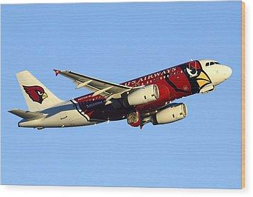 Us Airways Airbus A319-132 N837aw Arizona Cardinals Phoenix Sky Harbor December 24 2014  Wood Print by Brian Lockett