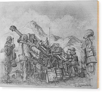 Us Army M-777 Howitzer Wood Print