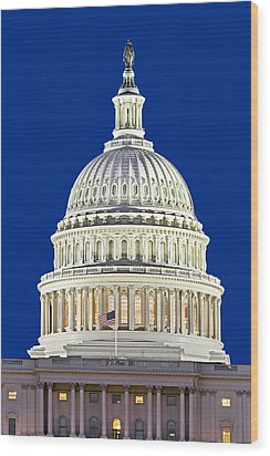 Us Capitol Dome Wood Print by Susan Candelario