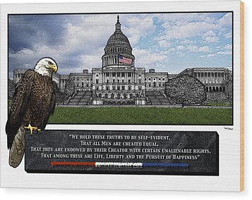 Us Capitol With Eagle Wood Print by Rose Borisow
