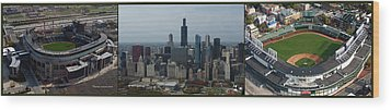 Us Cellular And Wrigley Field Chicago Baseball Parks 3 Panel Composite 02 Wood Print by Thomas Woolworth