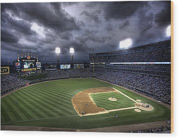 Us Cellular Field Twilight Wood Print by Shawn Everhart