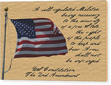 Us Constitution 2nd Amendment Flag Wood Print