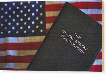United States Constitution And Flag Wood Print