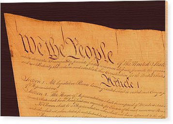 Us Constitution Closest Closeup Brown Background Wood Print by L Brown