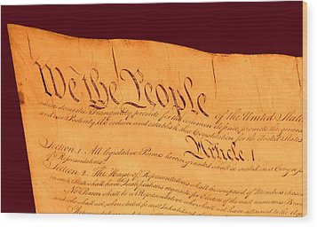 Us Constitution Closest Closeup Red Brown Background Wood Print by L Brown