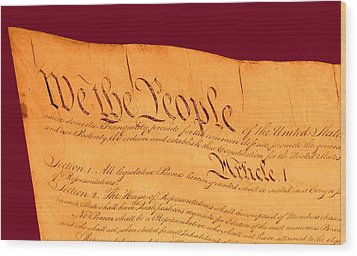 Us Constitution Closest Closeup Violet Red Background Wood Print by L Brown