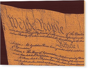Us Constitution Closeup Sculpture Red Brown Background Wood Print by L Brown
