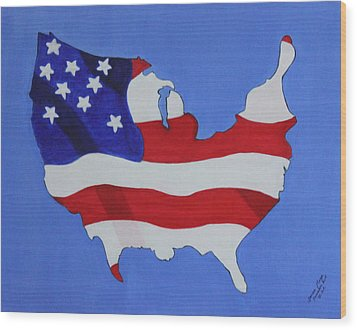Wood Print featuring the painting Us Flag by Lorna Maza
