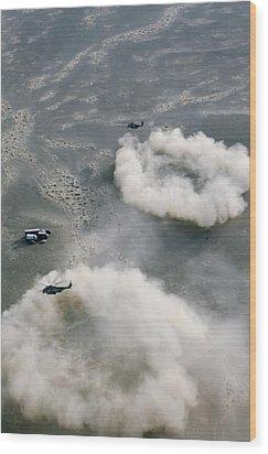 Us Helicopters Landing In Afghanistan Wood Print by U.s. Marine Corps