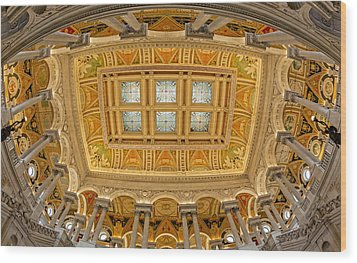 Us Library Of Congress Wood Print by Susan Candelario