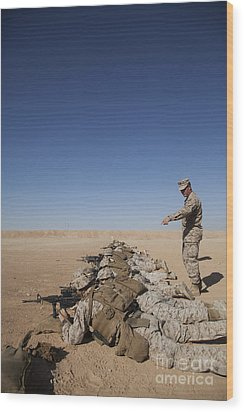 U.s. Marine Corps Officer Directs Wood Print by Stocktrek Images
