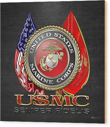U. S. Marine Corps U S M C Emblem On Black Wood Print