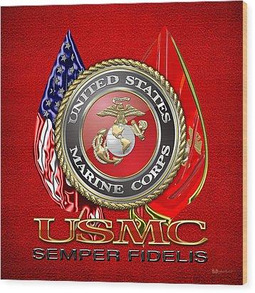 U. S. Marine Corps U S M C Emblem On Red Wood Print by Serge Averbukh