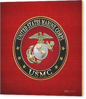 U. S. Marine Corps - U S M C Emblem Special Edition Wood Print by Serge Averbukh