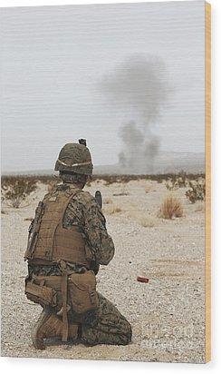 U.s. Marine Provides Security As Part Wood Print by Stocktrek Images