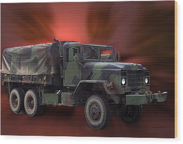 Us Military Truck Wood Print by Thomas Woolworth