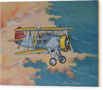 Wood Print featuring the painting Us Navy Boeing F4b by Murray McLeod