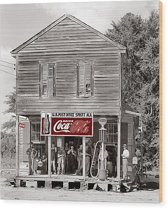 U.s. Post Office General Store Coca-cola Signs Sprott  Alabama Walker Evans Photo C.1935-2014. Wood Print by David Lee Guss