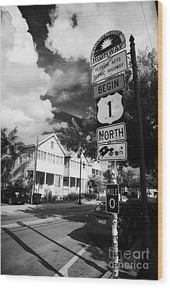Us Route 1 Mile Marker 0 Start Of The Highway Key West Florida Usa Wood Print by Joe Fox