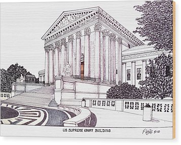 Us Supreme Court Building Wood Print by Frederic Kohli