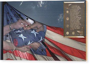 Us Veterans Burial Flag 3 Panel Composite Digital Art Wood Print by Thomas Woolworth