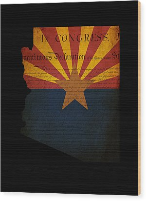 Usa American Arizona State Map Outline With Grunge Effect Flag A Wood Print by Matthew Gibson