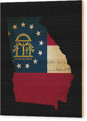 Usa American Georgia State Map Outline With Grunge Effect Flag A Wood Print by Matthew Gibson