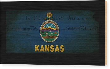 Usa American Kansas State Map Outline With Grunge Effect Flag An Wood Print by Matthew Gibson