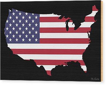 Usa And Flag Wood Print