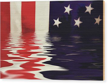 Usa Flag Wood Print
