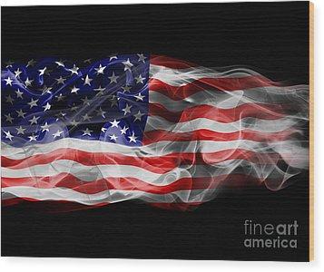 Usa Flag Smoke  Wood Print by Jt PhotoDesign
