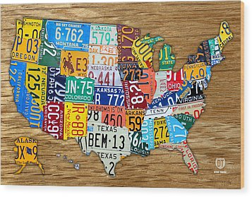 Usa License Plate Map Car Number Tag Art On Light Brown Stained Board Wood Print by Design Turnpike