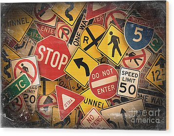 Usa Traffic Signs Wood Print by Carsten Reisinger