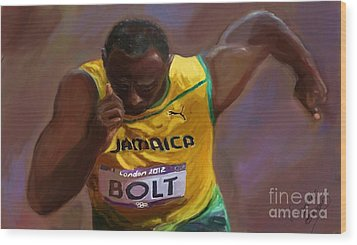 Wood Print featuring the painting Usain Bolt 2012 Olympics by Vannetta Ferguson